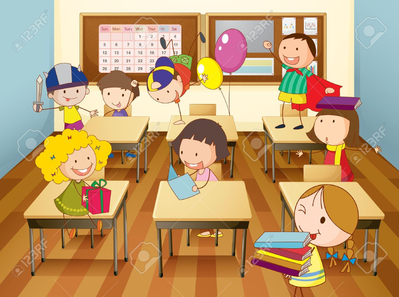 14253801 Illustration Of A Kids Studying In Classroom