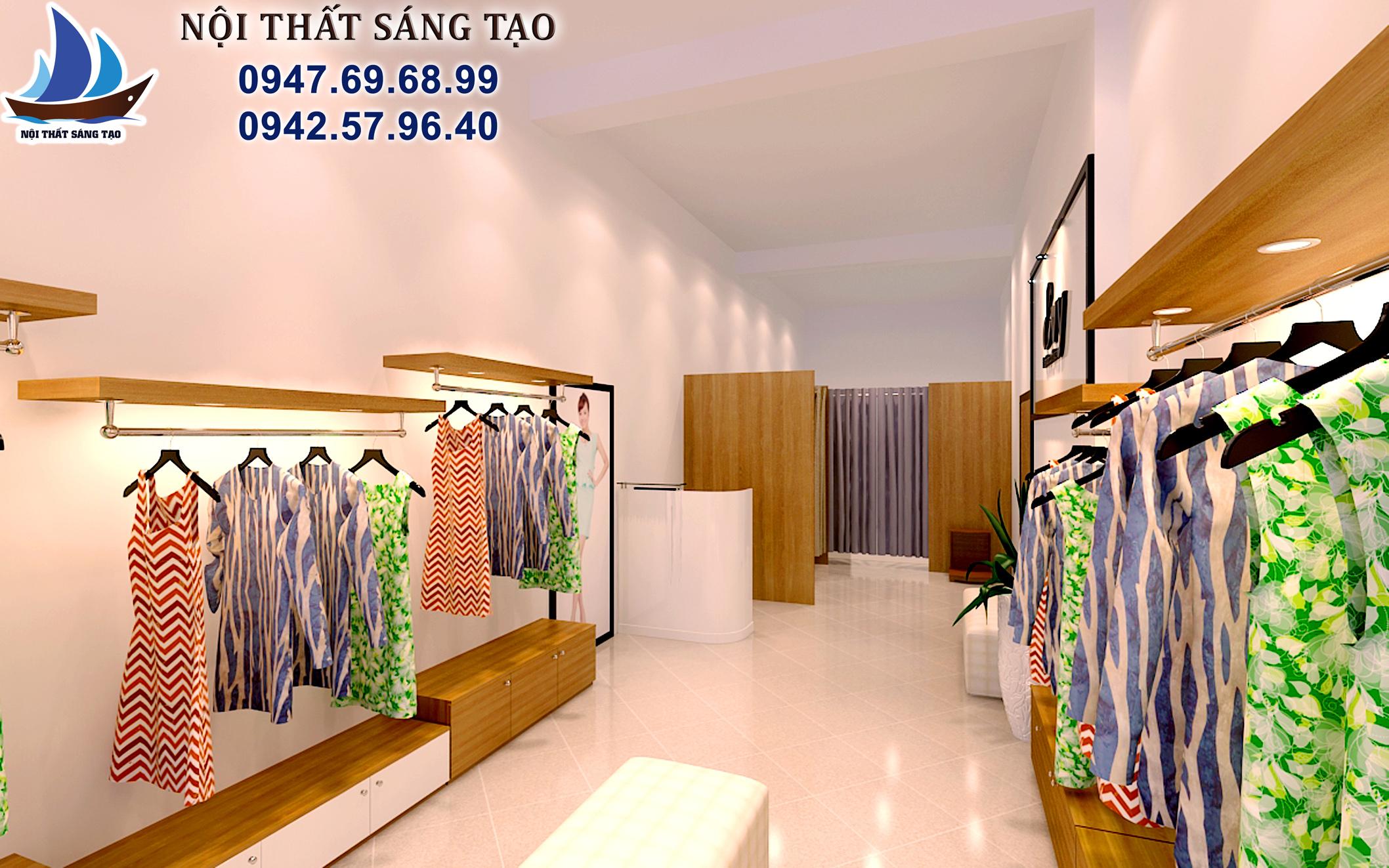 thiết kế cửa hàng quần áo thời trang ấn tượng