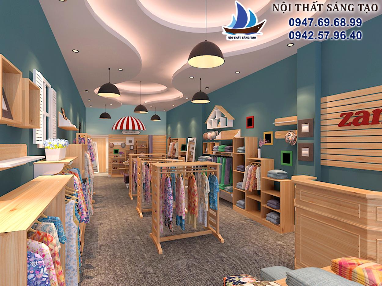 thiết kế cửa hàng thời trang zamy bằng nội thất gỗ